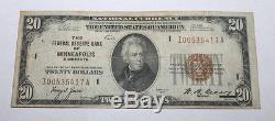 Old 1929 20 $ Sceau Marron Monnaie Nationale F R Bank Minneapolis Minnesota Note
