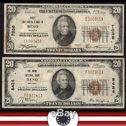 Pair De 1929 $ 20 Devise Nationale Reno, Nevada Note De Banque Nb Charte 7038 8424