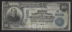 Pittsburg, Kansas! 10 $ 1902 First National Bank National Fnb Monnaie Scarce Ks