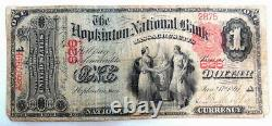 Rare 1875 Us Hopkinton Massachusetts 626 Monnaie Nationale Banque Note Bill
