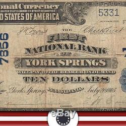 Rare 1902 $ 10 Devise Nationale York Springs Pa Large Bank Note Ch Charter 7856