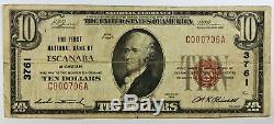 Rare 1929 10 $ Première Banque Nationale De Escanaba Michigan National Note Note