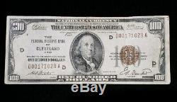 Rare 1929 $ 100 Réserve Nationale De Cleveland Monnaie Fédérale Banque Brown Seal