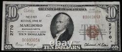 Rare Marlboro Ma 1929 10 $ Monnaie Nationale Note De La Banque Marlborough Massachusetts