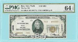 Rare Rye National Bank, New York, Fr-1802 Ty-2, Ch Unc 64 $ 20 1929 Devise Ny