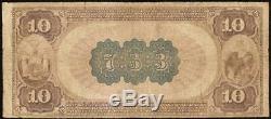 Série 1882 10 $ Dollar Bill Banque Nationale Note Grande Monnaie Old Billets
