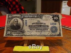 Série 1902, 10 Dollars En Monnaie Nationale, Ch. 1382, Banque Nationale Meriden, Connecticut