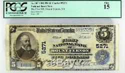 Série 1902 5 $ First National Bank Of Mount Vernon Ny Fr # 607 Pcgs Monnaie F15