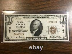 Série 1929 10,00 $ Monnaie Nationale De La Banque Nationale De Lansing R. E. Olds