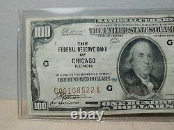 Série 1929 $100 Federal Bank Of Chicago Brown Seal National Currency Note