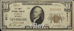 Série 1929 Utica Banque Nationale Note 10 $ Devise Nebraska F Fine / Vf Très Fine