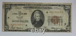 Série De 1929 20 $ Banque De Réserve Fédérale De Dallas Tx Monnaie Nationale Note 1vta