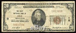 Série De 1929 Billet De 20 $ En Monnaie Nationale Banque Nationale D'érié En Pennsylvanie