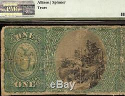 Série Originale $ 1 Ellenville Home Banque Nationale Monnaie Billets Billet Monnaie Pmg