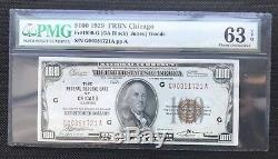 Série Un X 100 $ 1929 Monnaie Nationale / Banque Réservee De Chicago / Pmg 63 Epq