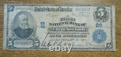 Us 1902 $5 Five Dollars National Currency First Bank Of City New York Vg+ Grande